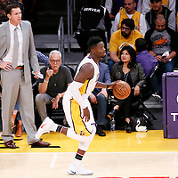 06 November 2016: Los Angeles Lakers forward Julius Randle (30) brings the ball up court past Los Angeles Lakers head coach Luke Walton during the LA Lakers 119-108 victory over the Phoenix Suns, at the Staples Center, Los Angeles, California, USA.