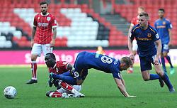 Famara Diedhiou of Bristol City tackles Stephen Kingsley of Hull City - Mandatory by-line: Nizaam Jones/JMP - 21/04/2018 - FOOTBALL - Ashton Gate Stadium- Bristol, England - Bristol City v Hull City - Sky Bet Championship