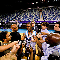 Sep 27, 2010; New Orleans, LA, USA; New Orleans Hornets guard Chris Paul (3) is interviewed by reporters during media day at the New Orleans Arena. Mandatory Credit: Derick E. Hingle