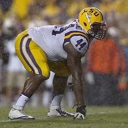 Sep 21, 2013; Baton Rouge, LA, USA; LSU Tigers fullback J.C. Copeland (44) against the Auburn Tigers during the first half of a game at Tiger Stadium. Mandatory Credit: Derick E. Hingle-USA TODAY Sports