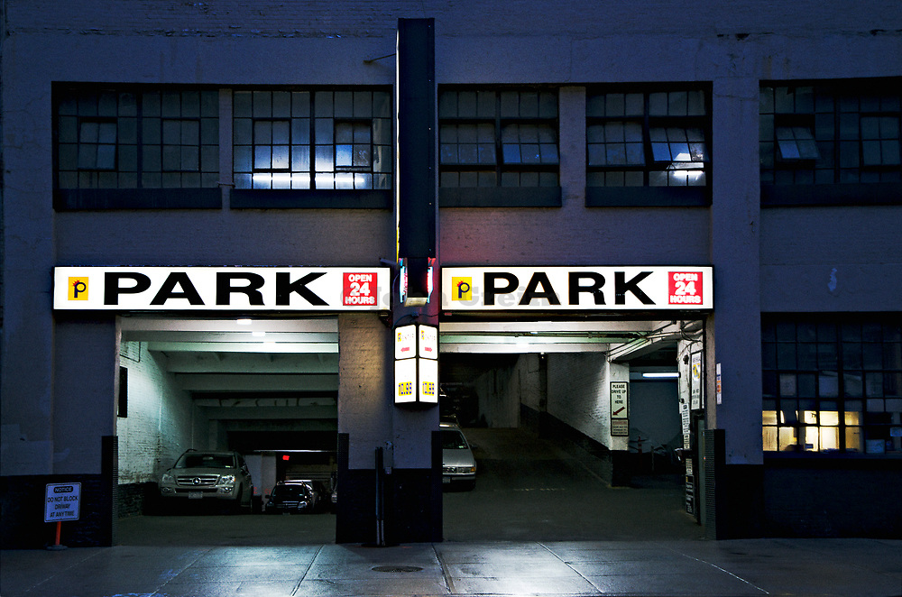 Eerie parking garage at night, NYC