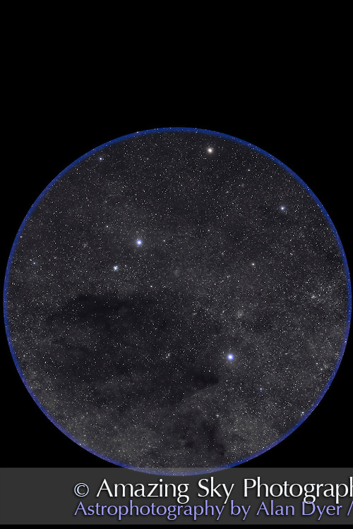 The Southern Cross, Crux, and the Coal Sack, plus associated star clusters in and around Crux, such as the Jewel Box, NGC 4755. This is a stack of 5 x 3 minute exposures at f/2.8 and ISO 800 with Canon 5D MkII and 135mm Canon lens. This field simulated the field of view of binoculars. Taken from Atacama Lodge, Chile, May 2011. A couple of the frames had light cloud which added the star glows naturally (no filter employed here).