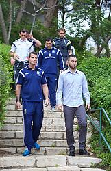 HAIFA, ISRAEL - Saturday, March 28, 2015: Wales and Israel security protect Gareth Bale on a team walk ahead of the UEFA Euro 2016 qualifying Group B match against Israel. (Pic by David Rawcliffe/Propaganda)