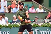Nikoloz Basilashvili (GEO) during the preliminary rounds of the Roland Garros Tennis Open 2017 at Roland Garros Stadium, Paris, France on 2 June 2017. Photo by Jon Bromley.