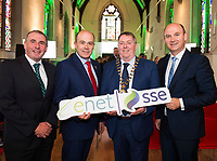 07/09/2017   Minister Denis Naughten  who announced a joint venture between enet and SSE which will roll-out superfast broadband to 115,000 premises in regional Ireland with from Left Donegal's Cllr Brian Boyle Minister Cllr. Gerry McMonagle Cathaoirleach Donegal Co Co and  Stephen Wheeler, MD SSE Ireland. Photo:Andrew Downes, xposure