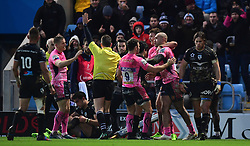 Exeter celebrate Olly Woodburn of Exeter Chiefs try  - Mandatory by-line: Alex Davidson/JMP - 13/01/2018 - RUGBY - Sandy Park Stadium - Exeter, England - Exeter Chiefs v Montpellier - European Rugby Champions Cup