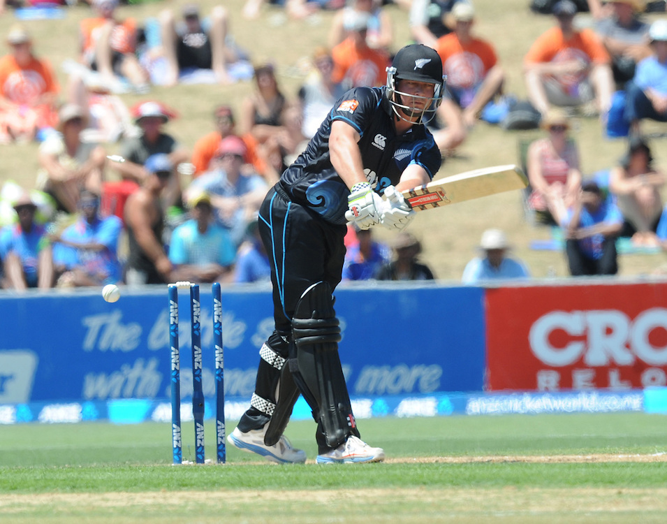 New Zealand's Jessie Ryder is bowled for 18 by India's Mohammed Shami in the first one day International cricket match, McLean Park, New Zealand, Sunday, January 19, 2014. Credit:SNPA / Ross Setford