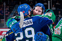 REGINA, SK - MAY 23:  Giorgio Estephan #29 is hugged by Colby Sissons #2 of the Swift Current Broncos marking the end of his WHL career against the Regina Pats at the Brandt Centre on May 23, 2018 in Regina, Canada. (Photo by Marissa Baecker/CHL Images)