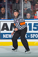 KELOWNA, CANADA - SEPTEMBER 29: Referee Clayton Hall skates at the Kelowna Rockets against the Everett Silvertips on September 29, 2017 at Prospera Place in Kelowna, British Columbia, Canada.  (Photo by Marissa Baecker/Shoot the Breeze)  *** Local Caption ***