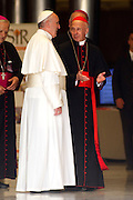 Vatican City may 16th 2016, 69th CEI (Italian Episcopal Conference) meeting. In the picture Pope Francis, Angelo Bagnasco