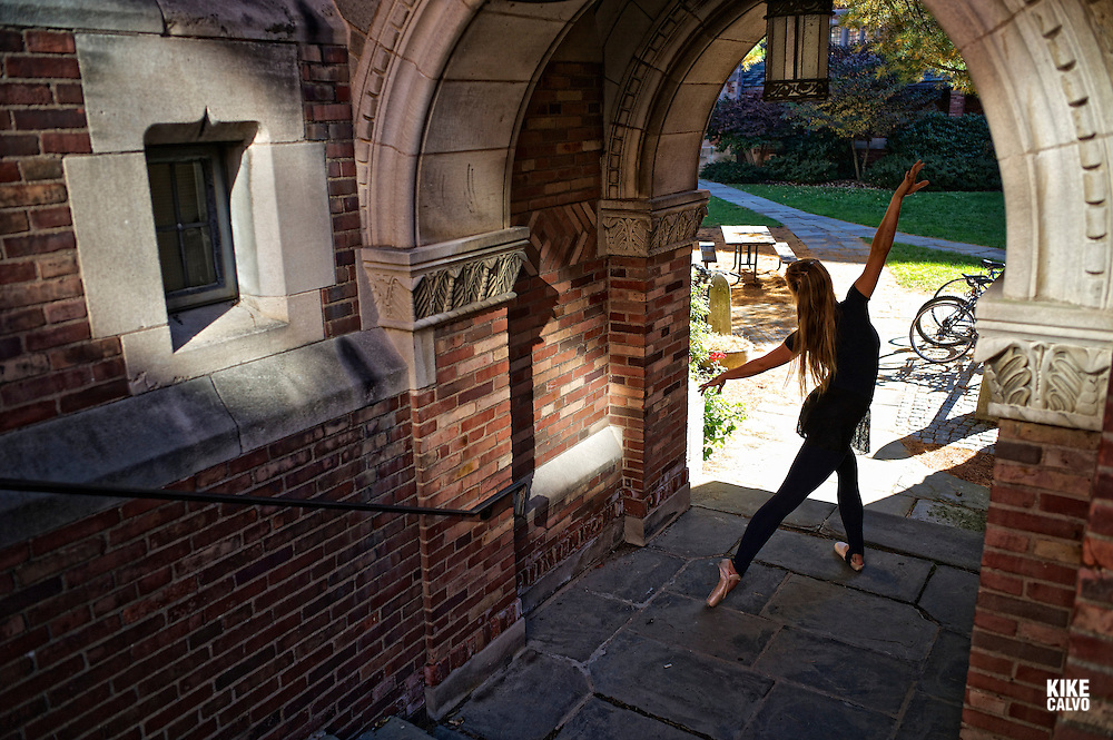 Classic ballerina dancing around Yale campus