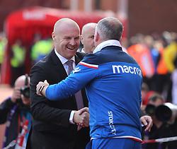 Burnley manager Sean Dyche (L) and Stoke City manager Paul Lambert shake hands - Mandatory by-line: Jack Phillips/JMP - 22/04/2018 - FOOTBALL - Bet365 Stadium - Stoke-on-Trent, England - Stoke City v Burnley - English Premier League