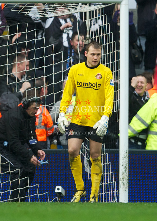 NEWCASTLE, ENGLAND - Sunday, March 4, 2012: Sunderland's goalkeeper Simon Mignolet looks dejected as Newcastle United score an equalising goal during the Premiership match at St. James' Park. (Pic by David Rawcliffe/Propaganda)