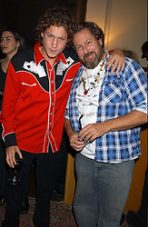 Left to right, VITO SCHNABEL and his father  JULIAN SCHNABEL at a party to celebrate the publication of Strangeland by artist Tracey Emin at 33 Portland Place, London W1 ON 21ST OCTOBER 2005.<br /><br />NON EXCLUSIVE - WORLD RIGHTS