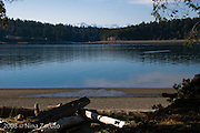 Scenic look in an inlet off Hartstine Island, near Olympia, Washington with Olympic mountains in the background.