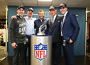Jan 20, 2019; New Orleans, LA, USA; Los Angeles Rams executives join head coach Sean McVay after defeating the New Orleans Saints in the NFC Championship at Mercedes-Benz Superdome. From left to right are executive vice president of football operations Kevin Demoff,  general manager Les Snead, coach Sean McVay, owner Stan Kroenke, owner and vice president of football and business operations Tony Pastoors. The Rams beat the Saints in overtime 26-23 and head to Super Bowl 53 in Atlanta. (Steve Jacobson/Image of Sport)