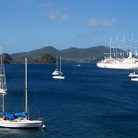 France, Guadeloupe, Les Saintes. Saillng and yachting bay of Les Saintes on Terre-de-Haut island, Guadeloupe.
