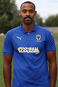 AFC Wimbledon midfielder Liam Trotter (14) during the AFC Wimbledon 2018/19 official photocall at the Kings Sports Ground, New Malden, United Kingdom on 31 July 2018. Picture by Matthew Redman.