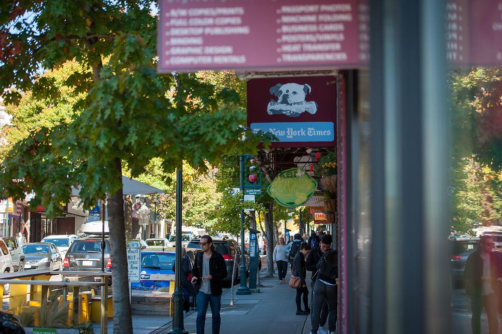2016 October 11 - People walk along University Way, University District, Seattle, WA, USA. By Richard Walker