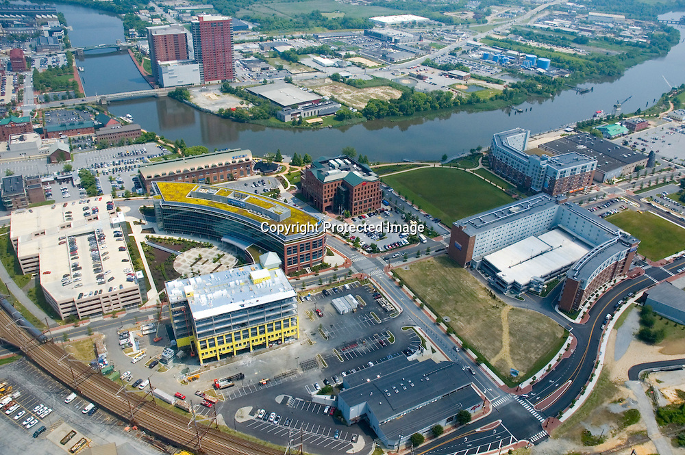 Aerial view of the AAA Building, Juniper Bank, Barclays Banks on the Wilmington Riverfront