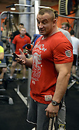 Mariusz Pudzianowski strongman and fighter K1 while open training session during Sport's National Day at Fitness Club S4 in Warsaw on October 26, 2013.<br /> <br /> Poland, Warsaw, October 26, 2013<br /> <br /> For editorial use only. Any commercial or promotional use requires permission.<br /> <br /> Mandatory credit:<br /> Photo by © Adam Nocon / Mediasport