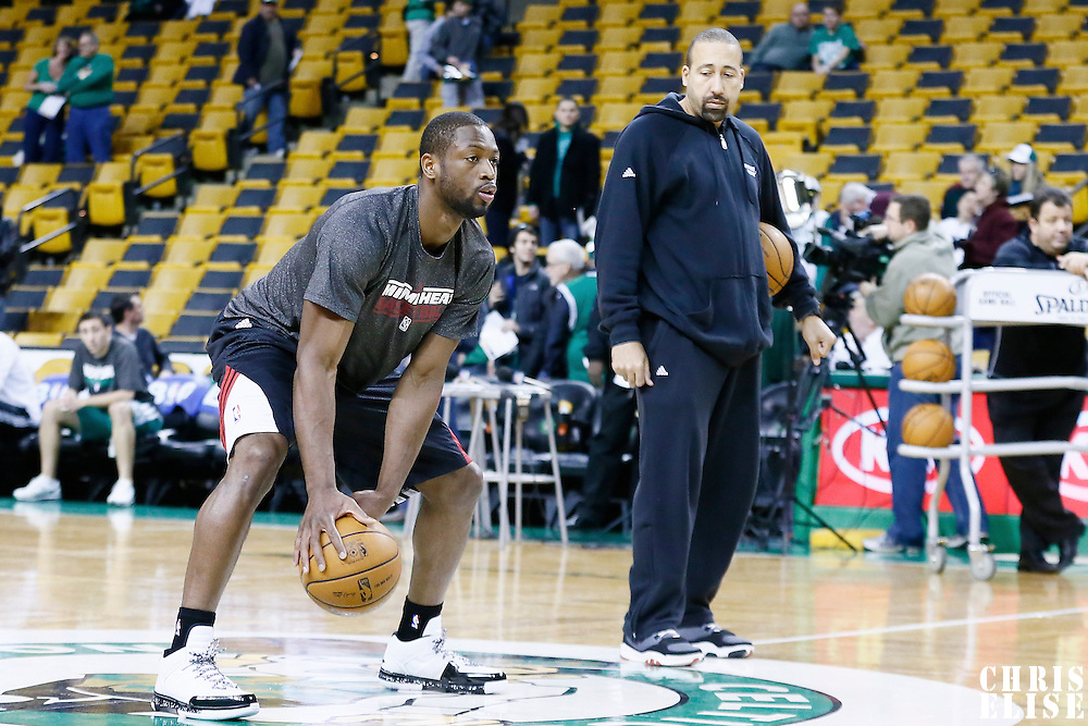 27 January 2013: Miami Heat shooting guard Dwyane Wade (3) warms up prior to the Boston Celtics 100-98  2OT victory over the Miami Heat at the TD Garden, Boston, Massachusetts, USA.