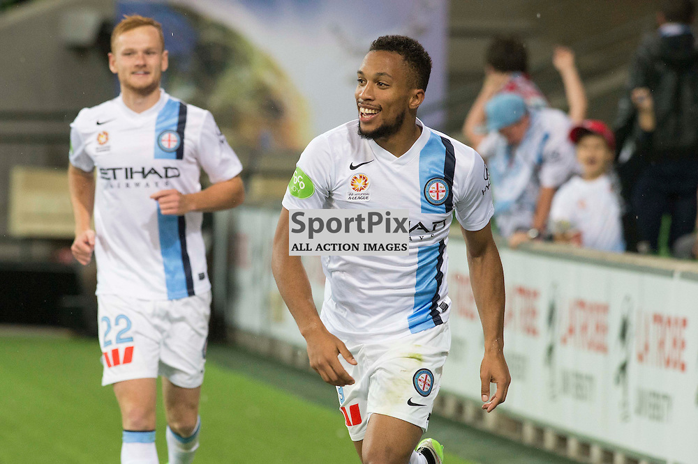 Harry Novillo (Melbourne City) celebrates his goal in the Hyundai A-League, 14th March 2015, RD 21- match between Melbourne City FC v Newcastle Jets at Aami Park, Melbourne Australia. © Mark Avellino | SportPix.org.uk Final score City 4:0 Newcastle