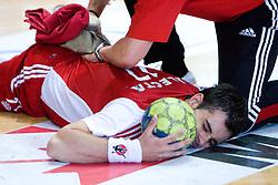 Peter Hrvatin of Slovan injured at handball match of MIK 1st Men league between RD Slovan and RK Gorenje Velenje, on May 16, 2009, in Arena Kodeljevo, Ljubljana, Slovenia. Gorenje won 27:26. (Photo by Vid Ponikvar / Sportida)
