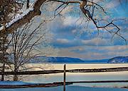Quabbin Reservoir in Massachusetts in the Snow.