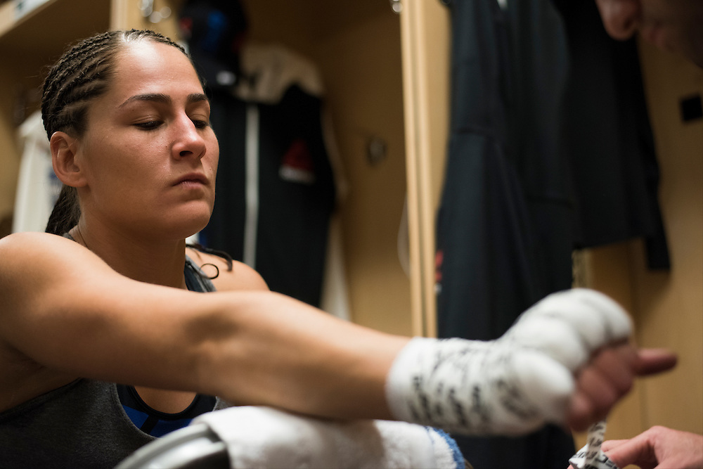 HOUSTON, TX - OCTOBER 3:  Jessica Eye has her hands wrapped before her fight against Julianna Pena during UFC 192 at the Toyota Center on October 3, 2015 in Houston, Texas. (Photo by Cooper Neill/Zuffa LLC/Zuffa LLC via Getty Images) *** Local Caption *** Jessica Eye