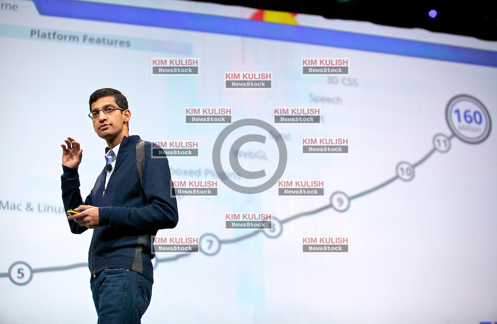 Sundar Pichai, senior vice president of Chrome at Google Inc., speaks during a keynote address at the Google I/O  developer's conference in San Francisco, California. Google announced their new Chromebook line of laptops.