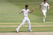 WICKET - Matt Taylor traps Paul Horton LBW during the Specsavers County Champ Div 2 match between Gloucestershire County Cricket Club and Leicestershire County Cricket Club at the Cheltenham College Ground, Cheltenham, United Kingdom on 15 July 2019.
