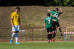 Players of NK Rudar celebrating goal during football match between NK Bravo and NK Rudar Velenje in 1sth Round of Slovenian Cup 2019/20, on August 15, 2019 in Sports park ZAK, Ljubljana, Slovenia. Photo by Grega Valancic / Sportida