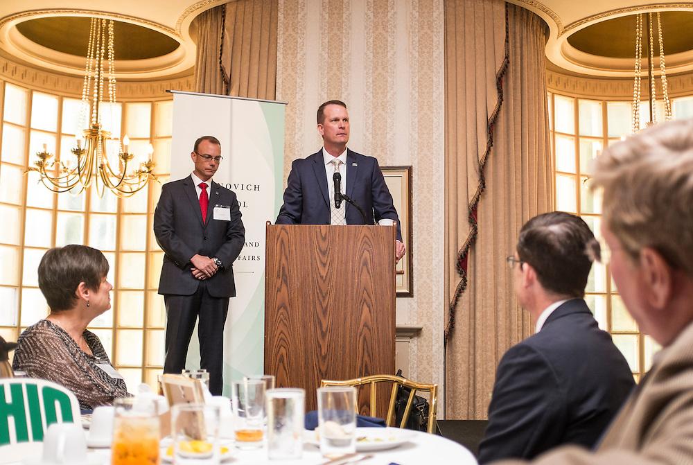 John Born addresses the Ohio University State Government Alumni Luncheon on Tuesday, May 5, 2015. Born was given the Outstanding State Government Alumnus Award.  Photo by Ohio University  /  Rob Hardin