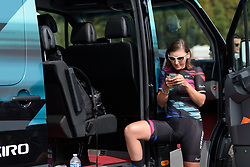 Lisa Brennauer checks her messages before Grand Prix de Plouay Lorient Agglomération a 121.5 km road race in Plouay, France on August 26, 2017. (Photo by Sean Robinson/Velofocus)