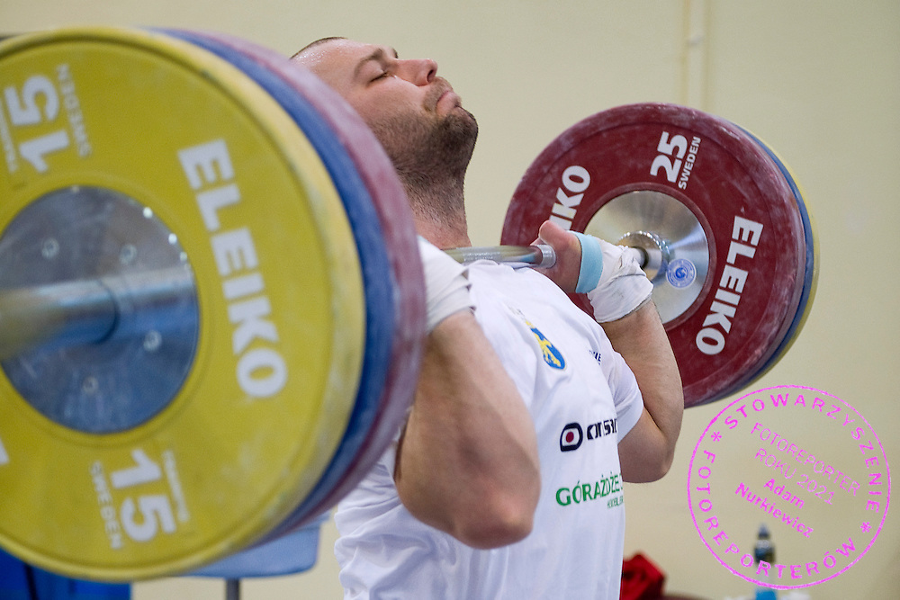 Bartlomiej Bonk from Poland (Budowlani Opole; category 105 kg) during training session two weeks before weightlifting IWF World Championships Wroclaw 2013 at the Olympic Sports Centre in Spala on October 08, 2013.<br /> <br /> Poland, Warsaw, September 16, 2013<br /> <br /> Picture also available in RAW (NEF) or TIFF format on special request.<br /> <br /> For editorial use only. Any commercial or promotional use requires permission.<br /> <br /> Mandatory credit:<br /> Photo by &copy; Adam Nurkiewicz / Mediasport