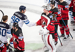 Mikko Rantanen of Finland and Calvin Pickard of Canada during the 2017 IIHF Men's World Championship group B Ice hockey match between National Teams of Canada and Finland, on May 16, 2017 in AccorHotels Arena in Paris, France. Photo by Vid Ponikvar / Sportida