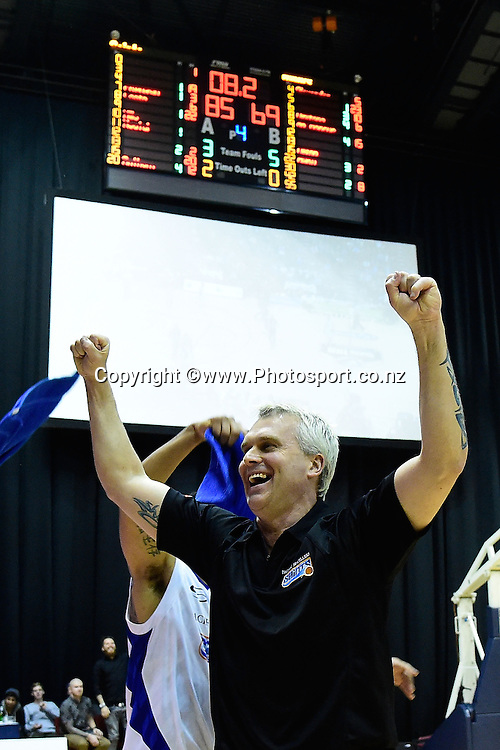 Shane Heal head coach of the Saints celebrates the win during a NBL Finals - Saints vs Hawks basketball match at the TSB Arena in Wellington on Saturday the 5th of July 2014. Photo by Marty Melville/www.Photosport.co.nz