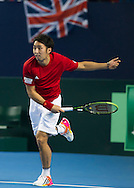 Yasutaka UCHIYAMA pictured in action during the round three singles match on second day of the Davis Cup by BNP Paribas match between Great Britain and Japan at the National Indoor Arena, Birmingham, England.<br /> Picture by Anthony Stanley/Focus Images Ltd 07833 396363<br /> 05/03/2016