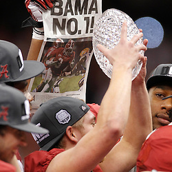 Jan 9, 2012; New Orleans, LA, USA; Alabama Crimson Tide celebrate after defeating the LSU Tigers in the 2012 BCS National Championship game at the Mercedes-Benz Superdome.  Mandatory Credit: Derick E. Hingle-US PRESSWIRE