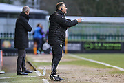 Forest Green Rovers assistant manager, Scott Lindsey gives out instructions during the EFL Sky Bet League 2 match between Forest Green Rovers and Cambridge United at the New Lawn, Forest Green, United Kingdom on 20 January 2018. Photo by Shane Healey.