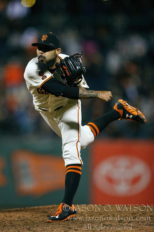 SAN FRANCISCO, CA - SEPTEMBER 29:  Sergio Romo #54 of the San Francisco Giants pitches against the Colorado Rockies during the ninth inning at AT&T Park on September 29, 2016 in San Francisco, California. The San Francisco Giants defeated the Colorado Rockies 7-2. (Photo by Jason O. Watson/Getty Images) *** Local Caption *** Sergio Romo