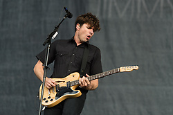 © Licensed to London News Pictures. 22/08/2014. Reading, UK.   Jimmy Eat World performing live at Reading Festival 2014 on Friday, the opening day.     In this picture - Jim Adkins.  Photo credit : Richard Isaac/LNP