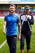 AFC Wimbledon defender Callum Kennedy (23) with AFC Wimbledon midfielder George Francomb (7)  during the EFL Sky Bet League 1 match between Scunthorpe United and AFC Wimbledon at Glanford Park, Scunthorpe, England on 5 August 2017. Photo by Simon Davies.