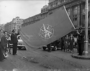 Aer Lingus 21st Anniversary Flag being Hoisted on O'Connell Street, Dublin Ireland. 27/05/1957<br />