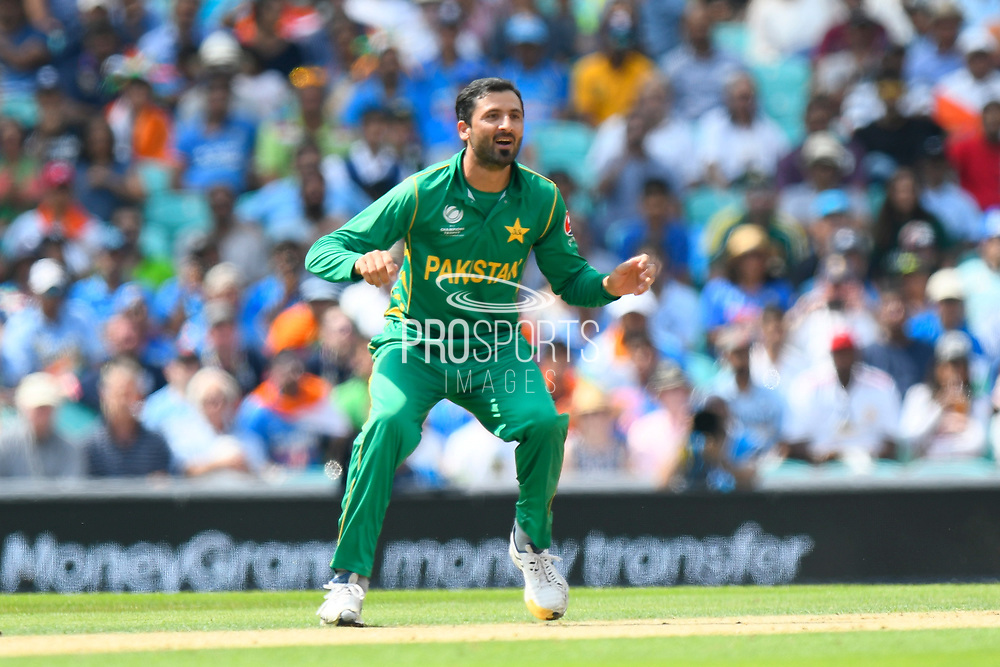Junaid Khan of Pakistan during the ICC Champions Trophy final match between Pakistan and India at the Oval, London, United Kingdom on 18 June 2017. Photo by Graham Hunt.