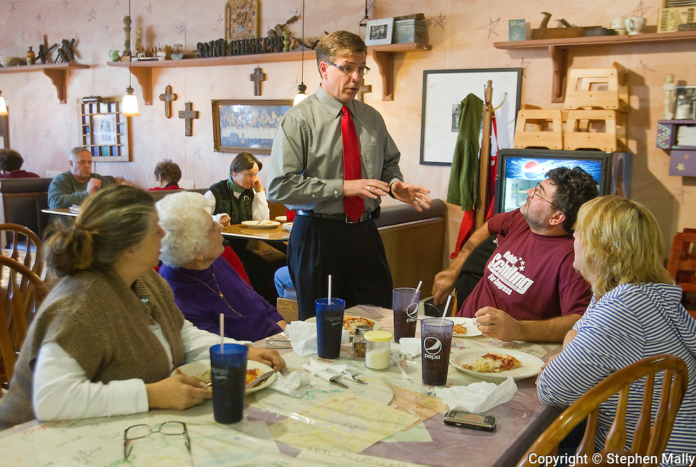 Congressman-elect Robert Schilling (IL-17) talks with customers at his pizza shop, Saint Giuseppe's Heavenly Pizza, in Moline, Illinois on Tuesday November 9, 2010.