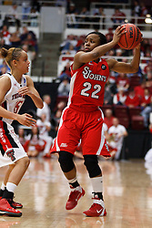 March 19, 2011; Stanford, CA, USA; St. John's Red Storm guard Eugeneia McPherson (22) is defended by Texas Tech Lady Raiders guard Casey Morris (15) during the second half of the first round of the 2011 NCAA women's basketball tournament at Maples Pavilion. St. John's defeated Texas Tech 55-50.