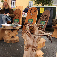 Del Harding with some of his wood products at the Scariff Harbour Festival at the weekend.<br /> Photograph by Yvonne Vaughan