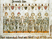 The seven electors choose Henry, Count of Luxembourg, as King of the Romans at Frankfurt on the 27th day of November.' The 'Seven Prince pen-and-ink miniature from the picture chronicle of Henry VII (Balduineum) drawing on parchment from 1341Electors' electing Henry VII, Holy Roman Emperor. The electoral princes, identified by the coat of arms above their heads, from left to right are the archbishops of Cologne, Mainz, and Trier, the count palatine of the Rhine (count of former Electoral Palatinate), the duke of Saxony, the margrave of Brandenburg, and the king of Bohemia.